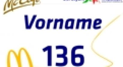 Eine Startnummer mit eurem Vornamen